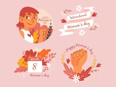 Hand-drawn womens day label collection march pink flowers set collection hand drawn download woman vector color flat colorful illustration
