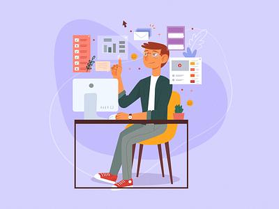 Multitasking concept illustration download task multitask multitasking work society man character vector color flat colorful illustration