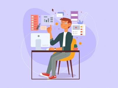 Multitasking concept illustration