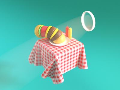 Burger Balloon render 3d balloon gif burger maya