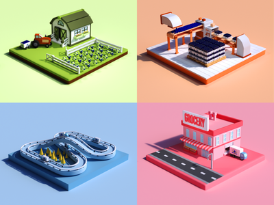 Pie Day - multi StyleFrame isometric c4d styleframe 3d modeling