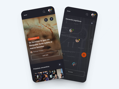 Indommus - News & player tracking app news users players tracking map matchmaking match app ui illustration design logo magazine header gaming dashboard carousel card