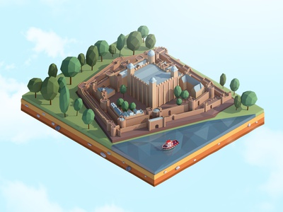 Cartoon Low Poly Tower of London illustration render isometric map art blender cinema4d 3d antonmoek illustration lowpolyart lowpoly3d lowpoly