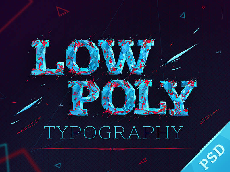 Low poly typography cover low poly typography photoshop cinema4d moek fonts psd