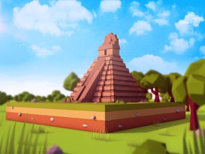 Low Poly Cartoon Tikal Temple Landmark landmark game cartoon illustration toon art low poly cinema4d antonmoek lowpoly 3d