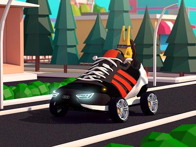 Das Is Audidas game antonmoek cinema4d adidas audi character digitalart low poly render illustration 3d lowpoly