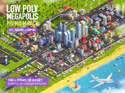 Low Poly Megapolis Premium Pack landscape lowpoly asset pack buildings city isometric illustration render c4d cinema4d 3d