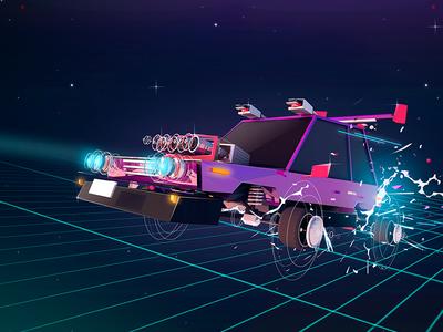 Quantum leap ⚡️ antonmoek lowpoly photoshop vehicle fx space car illustration render c4d cinema4d 3d