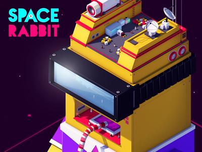 Space Rabbit antonmoek rabbit illustration low poly lowpoly digitalart render cinema4d 3d