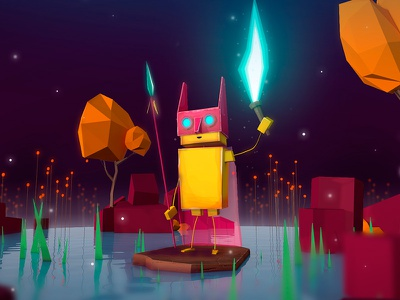 Night Stranger 🌜 antonmoek rabbit illustration low poly lowpoly realtime render character 3d