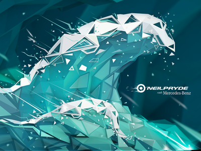 Polygonal Wave Illustration polygonal low-poly digitalart sticker 3d poly low lowpoly water wave vector illustration