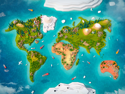 Cartoon Low Poly World Map world earth game render 3d c4d cinema4d digitalart map illustration low-poly lowpoly
