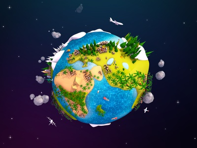 Lowpoly Earth Planet travel illustration render planet space globe earth 3d poly low lowpoly cartoon
