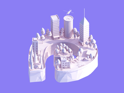 Low Poly Platin Logo Illustration buildings city platin design logo c4d cinema4d low poly 3d antonmoek lowpoly