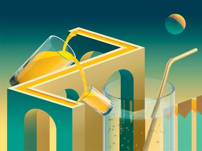 Juicy Illusions antonmoek juice water glass render illusion illustration c4d cinema4d 3d