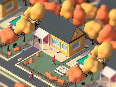 Autumn House clean house autumn character digital 3d toonboom cartoon render lowpoly photoshop c4d cinema4d illustration antonmoek 3d