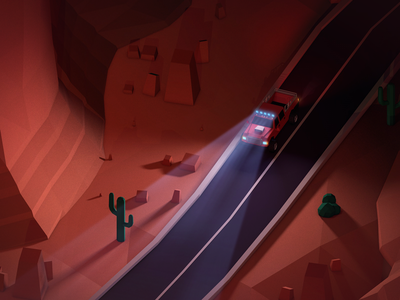 Monument Valley Night Driver isometric game c4d vehicle cinema4d illustration low poly render photoshop antonmoek lowpoly 3d