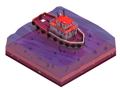 Cartoon Lowpoly Tugboat tugboat sea boat low-poly lowpolyart game design illustration digitalart c4d lowpoly 3d cinema4d