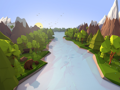 Lowpoly Forest 3d Illustration river forest nature art toon cartoon c4d low poly render illustration cinema4d antonmoek lowpoly 3d