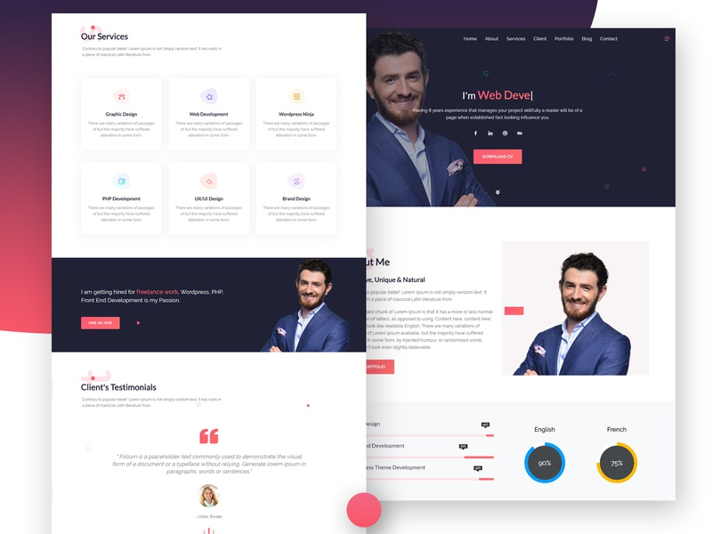 Folium | Responsive Personal Template illustration flat web agency ui design responsive webdesign landing page psd template ux web design