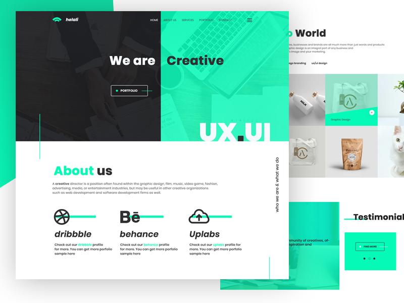 helali | Free PSD template Creative & Digital Agency flat web web agency ui responsive webdesign psd template illustration website web design ux design landing page