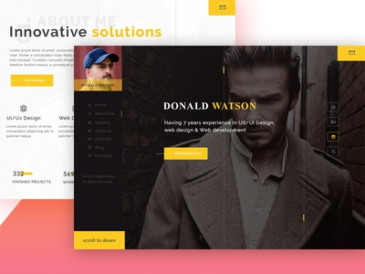 Watson - Personal Vcard Template web vcard personal brand ux psd template web design landing page website