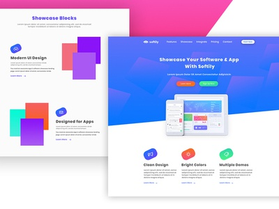 Softily - App & Software showcase psd template softily ui psd template responsive webdesign web design landing page website ux