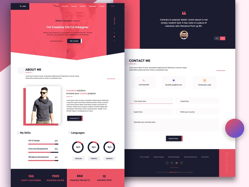 Personal Portfolio psd Template vcard template personal template ui design design ui web agency flat responsive webdesign landing page psd template ux web design