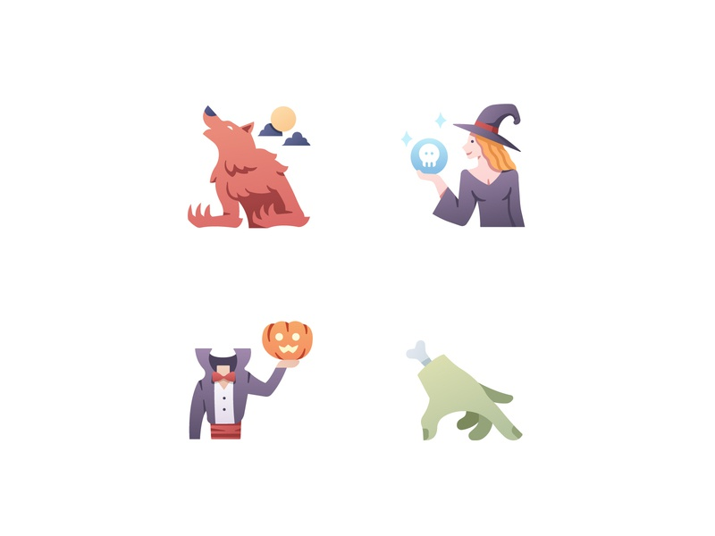 Horror icons vector icons illustration pumpkin werewolf witch halloween horror icon