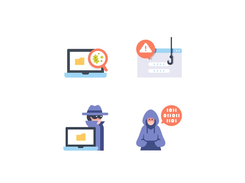 Cyber crimes icons technology hacker internet computer crime cyber vector flat design illustration icons icon