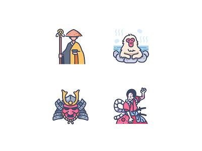 Japan icons kabuki mask samurai monkey monk nature spring landmark japanese japan design illustration icons icon