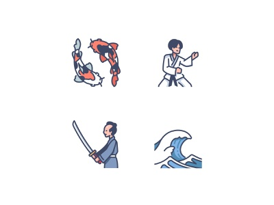 Japan icons 2 japanese japan wave samurai katana karate fish koi fish vector design illustration icons icon