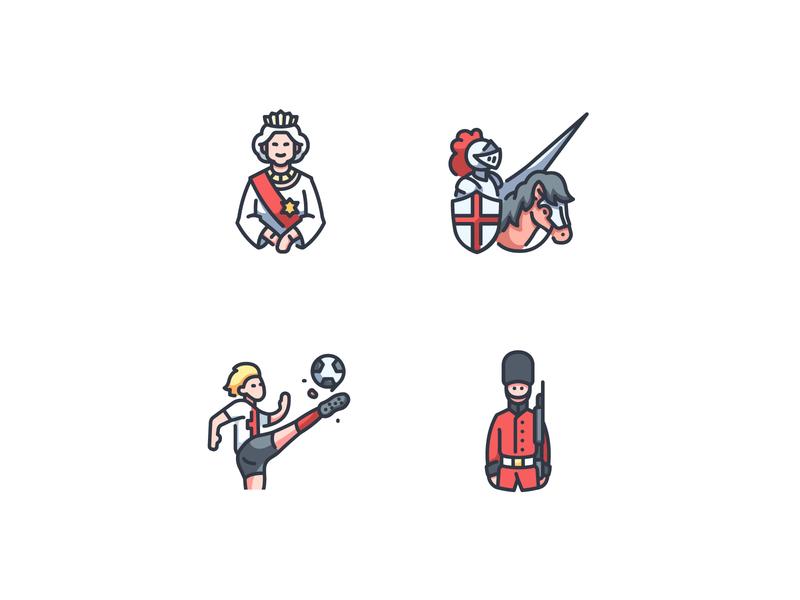 England icons guard royal soccer football house knight kingdom london english british britain uk england vector design illustration icons icon