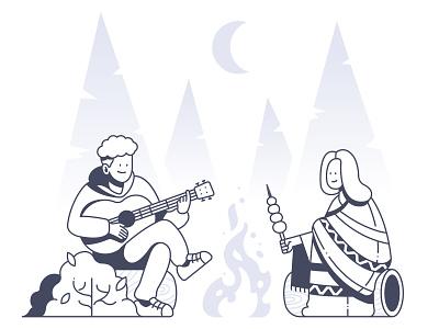 Camping forrest fire guitar backpack backpacker traveling illustraion
