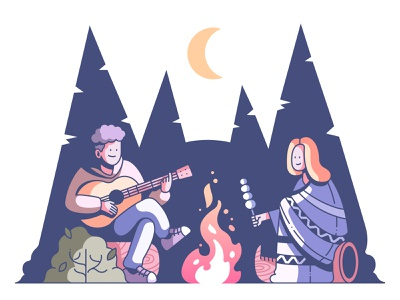 Couple Camping night tree tent nature travel illustration forrest trip summer fire campfire camping couple