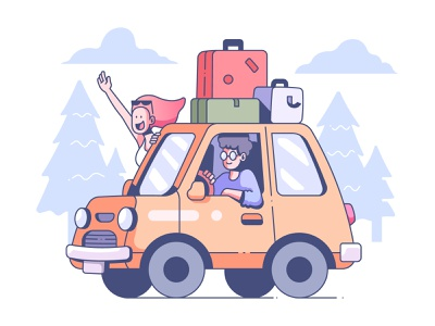 Car travel illustration transport holiday drive summer vehicle vacation trip happy journey lifestyle road travel people couple car