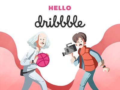 Hello! Dribbble illustration future movie back to the future flat mcfly marty hello