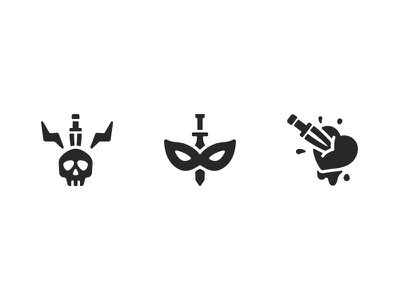 Thief RPG game icons mask ui vector icons fantasy game rpg heart skill skull knife thief bandit solid glyph design icon