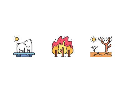 Save The World global warming forrest wild fite hero shot world save color outline illustration design icon