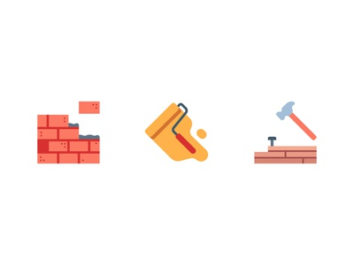 Build resident home wood wall painting paint hammer brick house building build design icon illustration flat