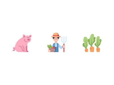 Farming vegetable pig carrot farming farmer farm vector design icons flat icon