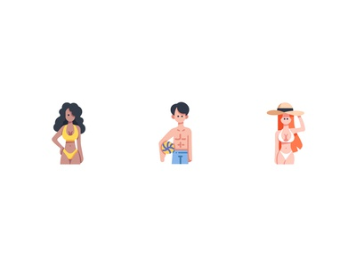 Beach people design vector icons icon hat bikini sea swimsuit summer beach people character sexy volleyball men man