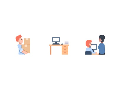 Office job working work promote computer office vector design illustration icons flat icon