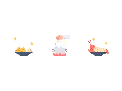 Restaurants spices french fries lobster food cook cooking vector design illustration icons flat icon
