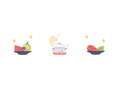 Cooking restaurant chef cook food steak fruits cooking app cooking vector design illustration icons flat icon