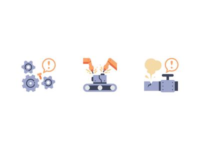 Factory leak factory break interrupt accident danger robot gear industry vector design illustration icons flat icon