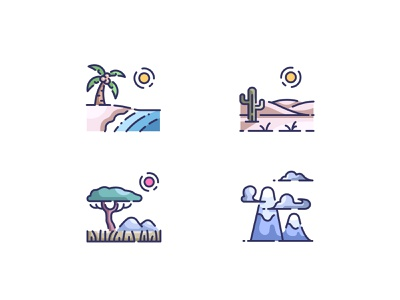 Landscape icons savanna desert sea hill country green season sun tree scenery summer background scenic forest sky mountain outdoor travel nature