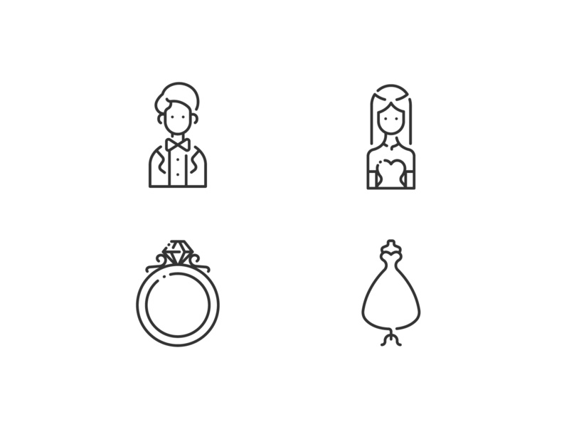 Wedding outline vector design illustration icons icon ring dress groom couple marriage bride romantic love celebration wedding