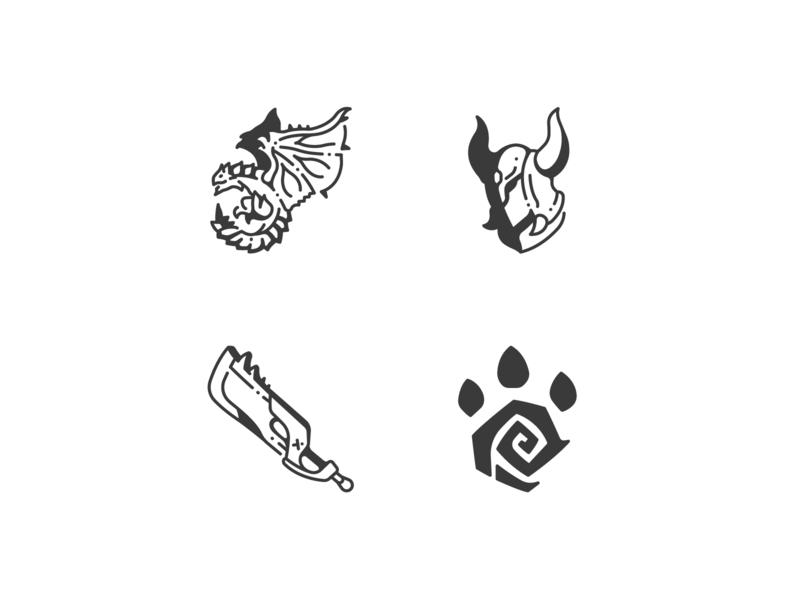 Monster Hunter icons helm paw sword armor dragon roleplaying rpg logo design illustration outline vector icons icon monster hunter hunter monster game