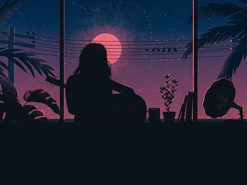 """Her Journey"" illustration birds blue pink art illustraion books alone girl music art guitarist guitar digital"